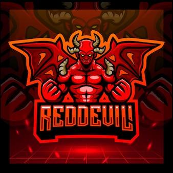 Rode duivel mascotte esport logo ontwerp