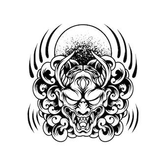 Rode duivel masker japan silhouet