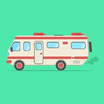 Rode en beige reismotorwagen die op groen wordt geïsoleerd