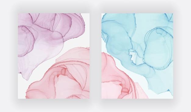 Rode en blauwe alcohol inkt textuur. abstracte handgeschilderde aquarel.