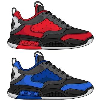 Rode en blauwe basketbalschoenen