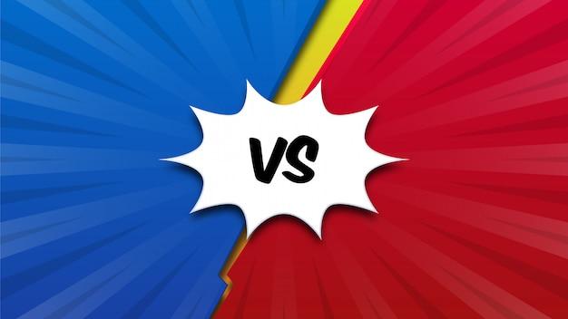 Rode en blauwe comic versus achtergrond