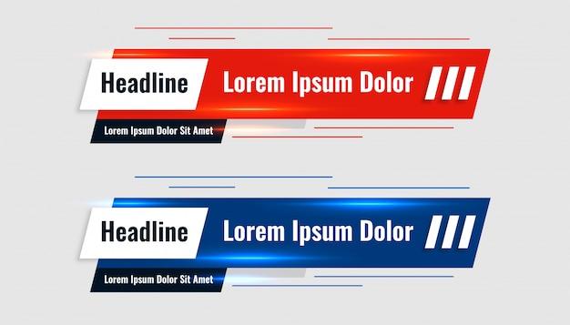 Rode en blauwe glanzende onderste derde sjabloon banner