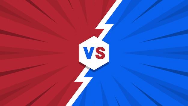 Rode en blauwe komische stijl versus achtergrond