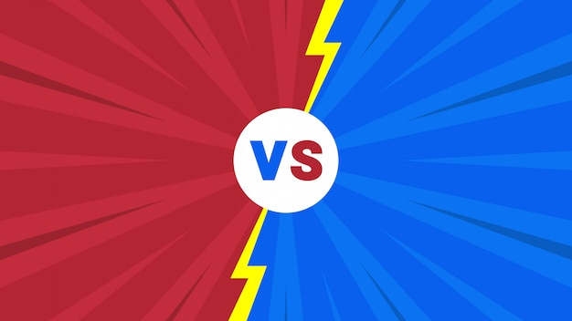 Rode en blauwe komische stijl versus brievenachtergrond
