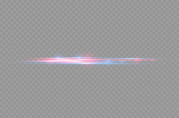 Rode en blauwe laserstralen horizontale lichtstralen gloeiende glinsterende lijnbeweging