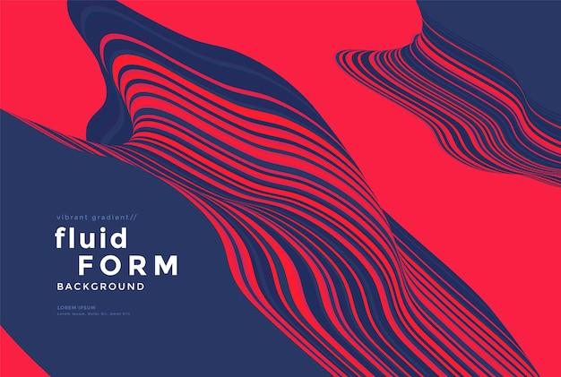 Rode en blauwe optische vloeistofgolf duotoon golvende lijn composities dynamische stroom achtergrondontwerp