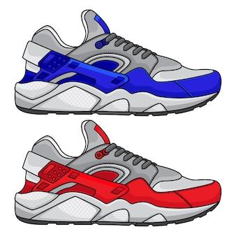 Rode en blauwe sportschoenen