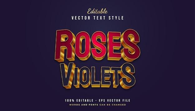 Rode en blauwe tekststijl met gouden omtrek in 3d-effect