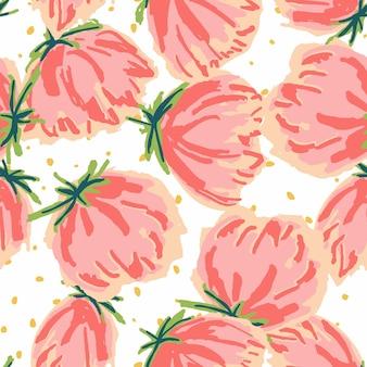Rode en blauwe tulp viltstift vector naadloze patroon. peony tuin papier textuur. roze licht tekening behang. lotus decoratieve achtergrond.