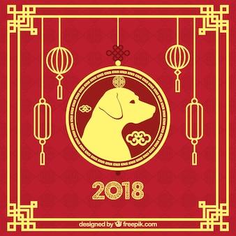 Rode en gouden achtergrond voor chinees nieuwjaar
