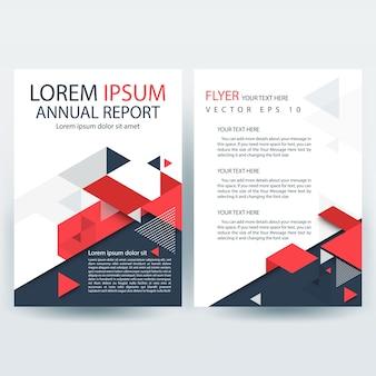 Rode en grijze creative report cover template met geometrische vormen