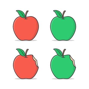 Rode en groene appelillustratie. set van rode, groene en gebeten appel met plat blad