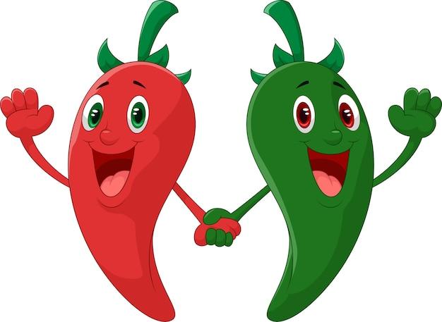 Rode en groene peper hand houden