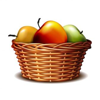 Rode en groene rijpe appels in de mand.