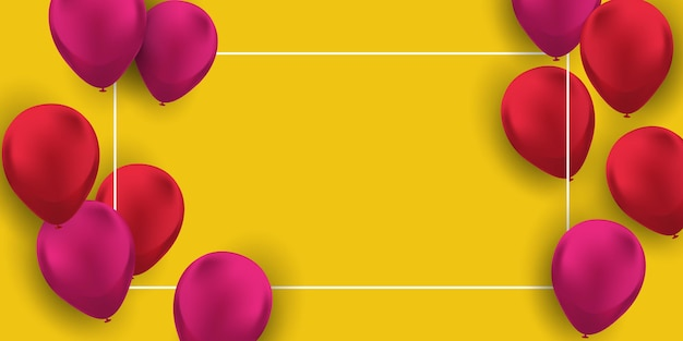 Rode en roze ballonnen achtergrond vector illustratie viering frame