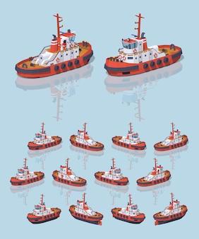 Rode en witte 3d lowpoly isometrische sleepboot