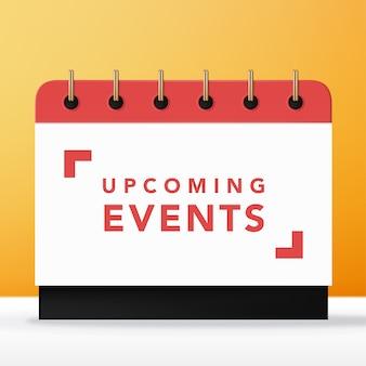 Rode en witte aankomende evenementenkalender