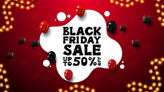 Rode en witte black friday-kortingsbanner met vloeibare vorm, cadeautjes, rode en zwarte ballonnen en slingerframe