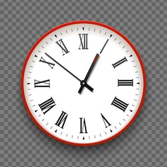 Rode en witte muur office klokpictogram met romeinse cijfers. ontwerp sjabloon vector close-up. mock-up voor branding en adverteren geïsoleerd op transparante achtergrond. realistische ronde wijzerplaat.
