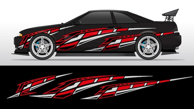 Rode en witte sticker racing vinyl striping
