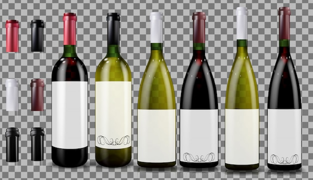 Rode en witte wijnflessen. realistisch