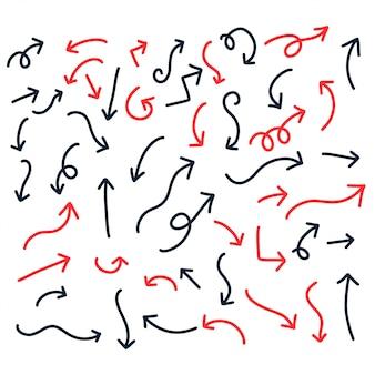 Rode en zwarte hand getrokken doodle pijlen