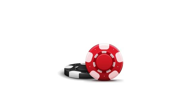 Rode en zwarte realistische casinofiches met schaduwen die op witte achtergrond worden geïsoleerd