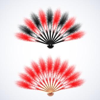 Rode en zwarte veren fan illustratie