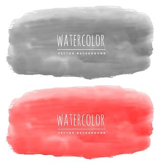 Rode en zwarte waterverf banners gemaakt met echte kleuren