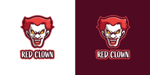 Rode enge clown mascotte karakter logo sjabloon