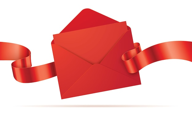Rode envelop met de lege brief en het golvende lint dat op achtergrond wordt geïsoleerd