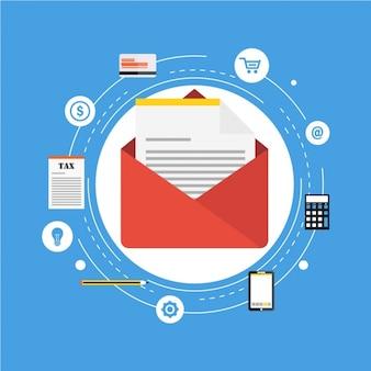 Rode envelop met een document en andere financiële producten