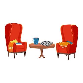 Rode fauteuils met houten tafel