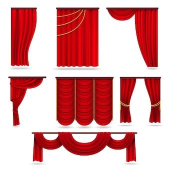 Rode fluwelen podiumgordijnen