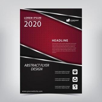 Rode flyer met een zwarte overlappende combinatie van zilveren strepen