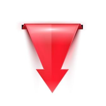 Rode gebogen glanzende pijl omlaag. realistische 3d-rode glanzende pijl met schaduw