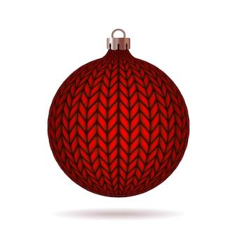 Rode gebreide kerstbal illustratie