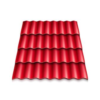 Rode gegolfde dakpan. moderne dakbedekkingen.