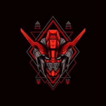 Rode gehoornde hoofd robot illustratie