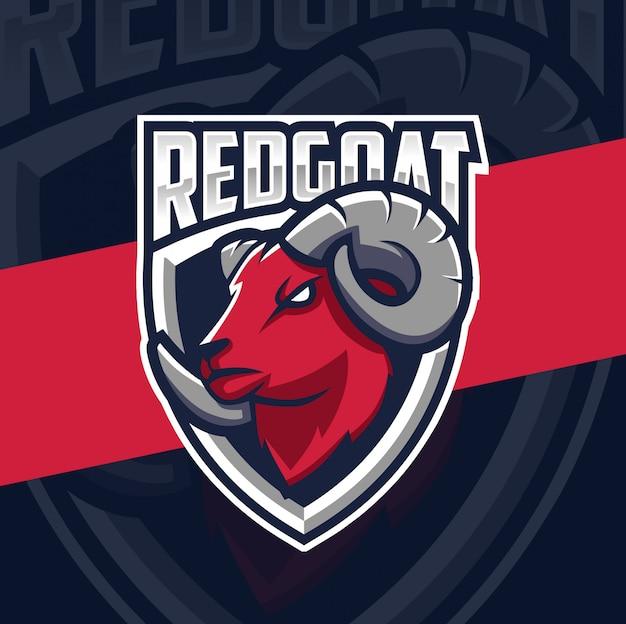 Rode geit mascotte esport logo ontwerp