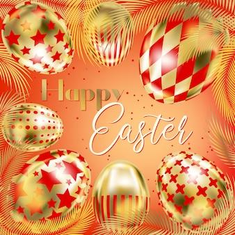 Rode gelukkige pasen-banner met gouden eieren en palm