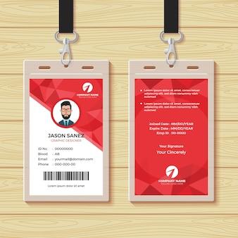 Rode geometrische werknemer id-kaart ontwerpsjabloon