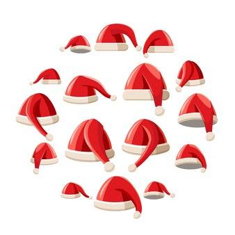 Rode geplaatste de hoedenpictogrammen van de kerstman, beeldverhaalstijl