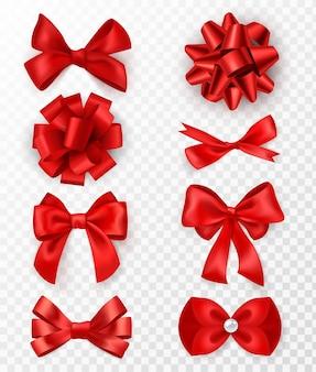 Rode geschenkbogen. realistische luxe zijden linten met strik, feestelijke decoratieve satijnen roos, vakantieverpakking of kaart, elegante cadeau tape 3d-vectorelementen op transparante achtergrond