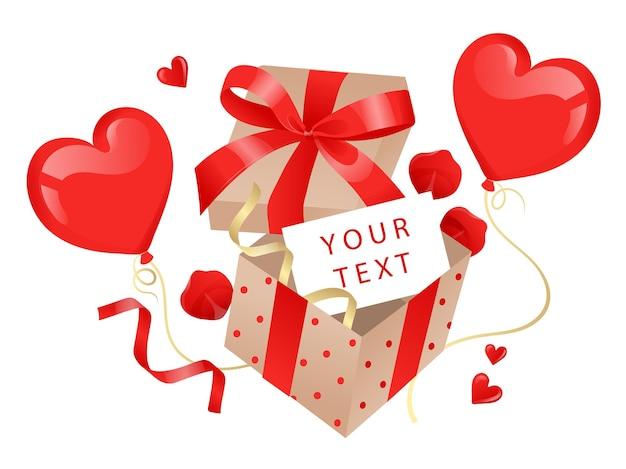 Rode geschenkdoos met ballonnen in hartvorm, linten en boog geïsoleerd