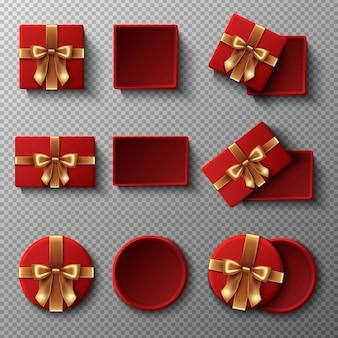 Rode geschenkdoos met gouden lint set