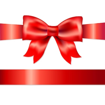 Rode gift satijnen strik, op een witte achtergrond, illustratie