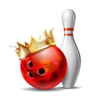 Rode glanzende bowlingbal met gouden kroon en witte bowlingpin met rode strepen