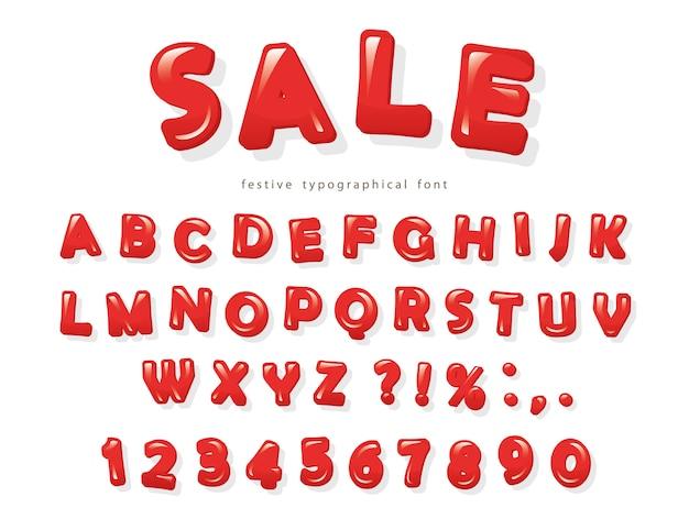 Rode glanzende letters en cijfers met zachte schaduwen.